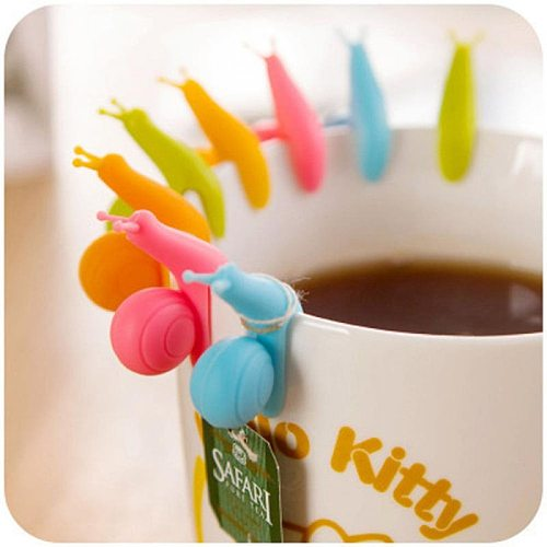 5 Pcs /Set Cute Snail Shape Silicone Tea Bag Holder Cup Mug Candy Colors Gift Set GOOD Random Color Tea Bag Holder