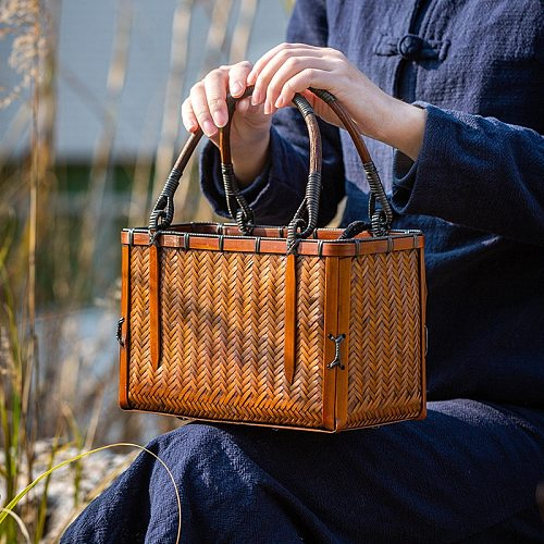 Japanese-style Bamboo Woven Storage Bags Handmade Retro Basket Chinese Style Teacup Teapot Bags Travel Outdoor Tea Cozies LA458