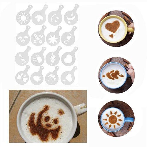 16Pcs Coffee Printing Model Cappuccino Coffee Stencils Template Chocolate Shaker Cocoa Flour Spray Strew Flower Pad Coffee Tools
