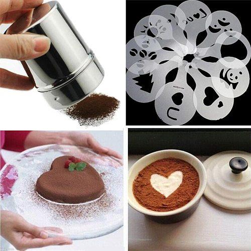 Cappuccino Mold Fancy Coffee Printing Model Foam Spray Cake Stencils Powdered Sugar Chocolate Cocoa Coffee Printing Assembly