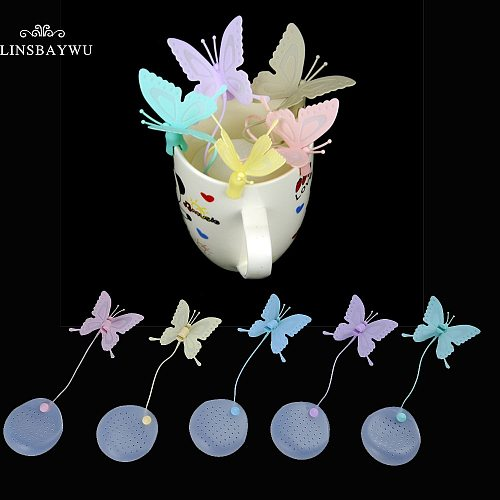 1pc Cute Butterfly Tea Bags Strainers Filter Tea Infuser Silicone Teabags Tea Tools Fun Cartoon Tea Accessories Pink Wholesale