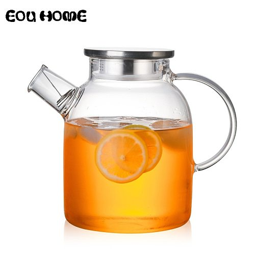 1L/1.5L Transparent Glass Teapot Heat Resistant Flower Kettle Water Jug with Bamboo/Stainless Steel Cover Clear Juice Container