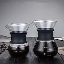 Reusable Glass Coffee Pot Manual Coffee Maker Stainless Steel Coffee Filter Durable Coffee Drip Pot Coffeeware 200/400ml