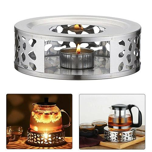 Teapot Holder Warmer Tea Holder Durable Stainless Steel Candle Warmer Tea Light Holder Trivets Coffee Warmer Heating Base