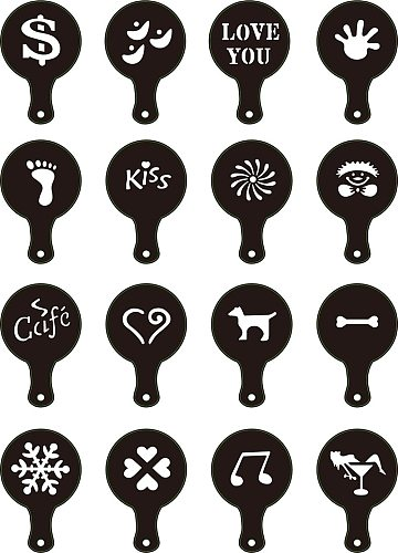 16pcs/set Funny Creative Coffee Latte Cappuccino Coffee Art Stencils Template Strew Flowers Pad Duster Spray for Coffee Decor To