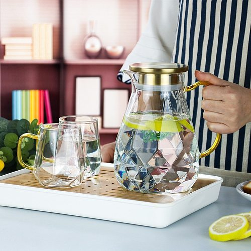 1.6L Diamond Transparent Glass Teapot Set Hot Cold Water Jug Transparent Coffee Pot Home Water Kettle Heat-resistant Teapot Set