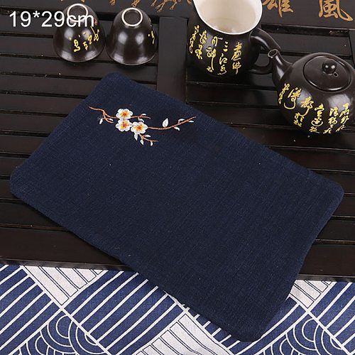 Tea Ceremony Accessory Pure Cotton Strong Absorbent Flower Embroidered Vintage Style 1Pcs Cleaning Towel Tea Napkins Cloth