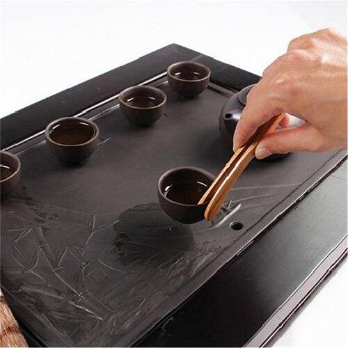 1pc 18cm Tea Utensil Sugar Bamboo Salad Tongs Kongfu Tea Wooden Tea Clip Food Toast Tea Tweezer