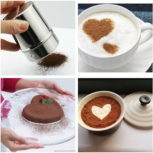 Flour Salt Sifter Sugar Condiment Bottle Containers Chocolate Powder Shaker+16Pcs Coffee Stencils Template Duster Spray Coffee