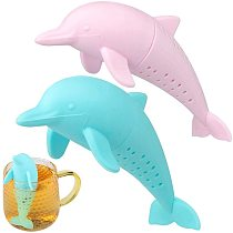 Cartoon Dolphin Tea Infuser Teapot Filter Silicone Leakproof Loose Leaf Tea Strainer Coffee Drinkware Kitchen Accessories