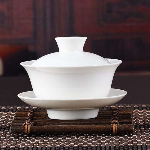 Chinese Gaiwan Tea Set Kung Fu White Ceramic Gaiwan White Teaware Sancai Tea Cup