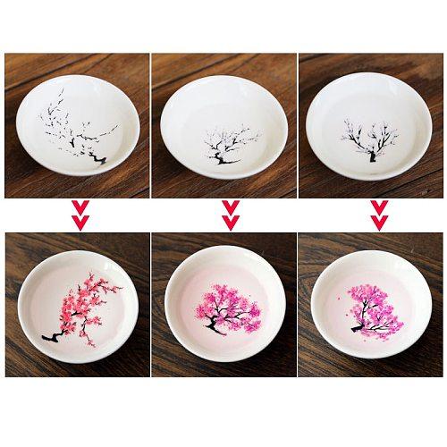 Magic Sakura Cup Japanese Cold Temperature Color Changing Tea Cup Flower display Teacup Single Ceramic Kung fu Tea Cup Tea Bowl