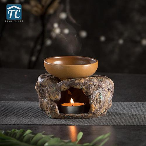 Candle Heating Base Tea Warmer Retro Japanese Style Stoneware Teapot Stove Stone Kung Fu Tea Set Ceramic Insulation Base Heater
