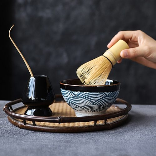 LUWU ceramic matcha sets natural bamboo matcha whisk ceremic matcha bowl whisk holder japanese tea sets