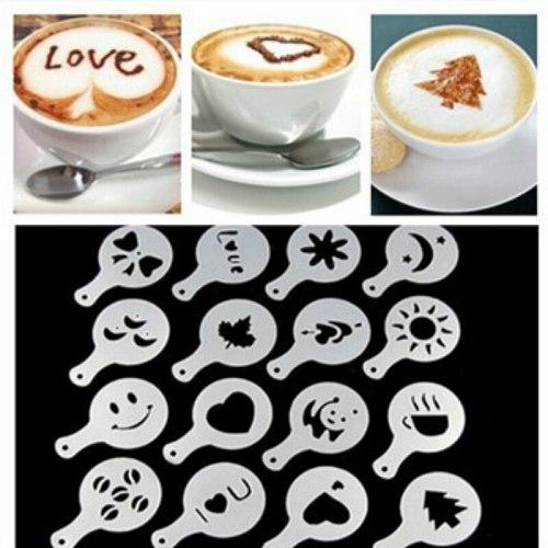 2020 New 16 Pcs Coffee Drawing Mold Fancy Natie Printing Model Coffee Foam Spray Cake Stencils Powdered Sugar Sieve Tool