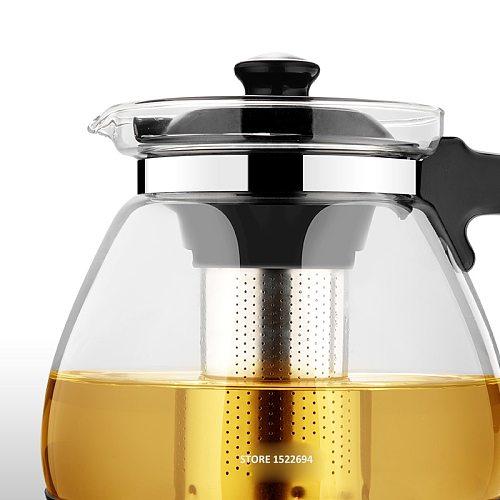 Optional Teapot 1.6L &2.3L Fashion Glass Teapot Pro Design for Tea Flower with Removable Steel Infuser Filter Premium Tea Kettle
