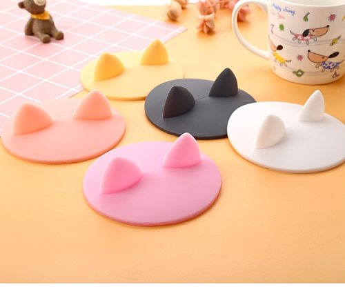Cute Anti-dust Silicone Cup Cover Cats Ears Lids Coffee Lid Heat-Resistant Reusable Seal Cover Mugs Water Cup Accessories