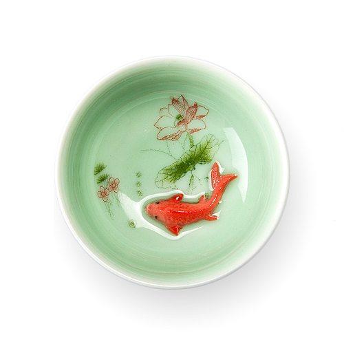 Chinese Tea Cup Porcelain Celadon Fish Teacup Set Teapot Drinkware Ceramic China Kung Fu Tea Set Ceramic cup Chinese gift D042