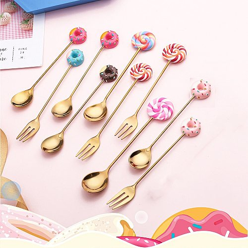 1pc Stainless Steel Rainbow Doughnut Fork Spoon Ice Cream Coffee Stirring Spoon Dinner Cartoon Teaspoon Kitchen Supplies Dessert