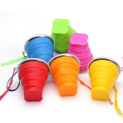6Colors  Retractable Folding Water Cups Telescopic Collapsible Travel Foldable Cups Outdoor Sport Cup Camping Drinkware 200ML
