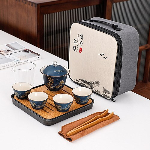 Portable Tea set include 1 Teapot 4 Teacups Beautiful and easy teapot kettle,Chinese Travel Ceramic Portable Teaset Gaiwan