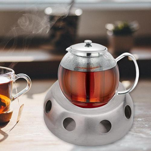 Coffee Candle Teapot Warmer Office Stainless Steel Holder Silver Heating Base Round Stove Home Practical Accessories Detachable