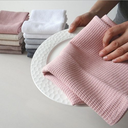 4PC/Set Cotton Table Napkins Cotton Kitchen Waffle Pattern Tea Towel Absorbent Dish Cleaning Towels Cocktail Napkin For Wedding