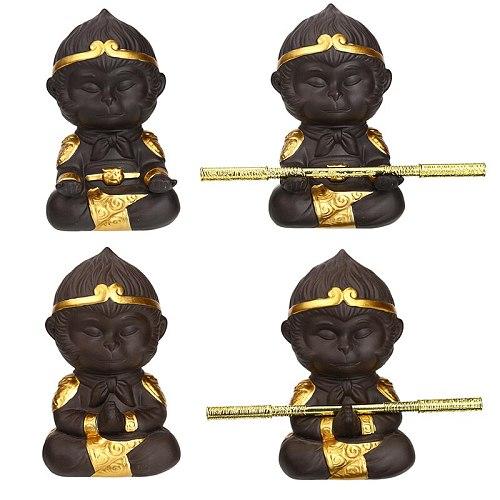 Chinese Purple Clay Kung Fu Tea Set Tea Pet Monkey King for Home Tea Tray Decoration Tea Tray Sun Wukong Statues Sculptures