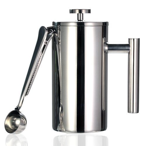 Best French Press Coffee Maker - Double Wall 304 Stainless Steel - Keeps Brewed Coffee or Tea Hot-3 size with sealing clip/Spoon