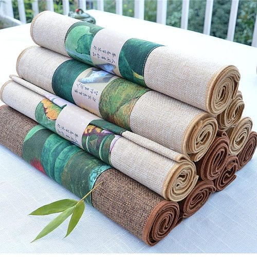 Chinese Style Vintage Pattern Table Runner Home Dinner Table Decoration Cotton Flax Mats Office Kung Fu Tea Set Pad Tea Napkins