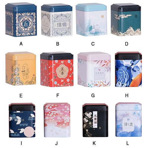 ♕s Universal Small Tea Caddy Tin Can Candy Scented Tinplate Tea Packaging Box Portable