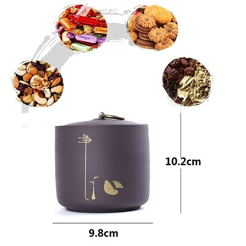 Tea Caddy Ceramics Puer tea Tea Storage Box Tea Jar 9.8*10.2cm Candy Jar Dried Fruit Container Purple Clay Spices Storage Box