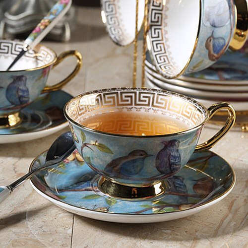 Ceramic Coffee Cup Saucer Spoon Set Camellia Decor Pattern Tea Cup Porcelain Tea Set Advanced Teacup Cafe Espresso Cup