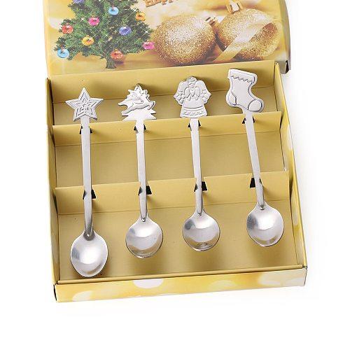 4pcs/set Christmas Tableware Coffee Spoons Stainless Steel Ice Cream Desserts Spoon Snowman Christmas Tree Style