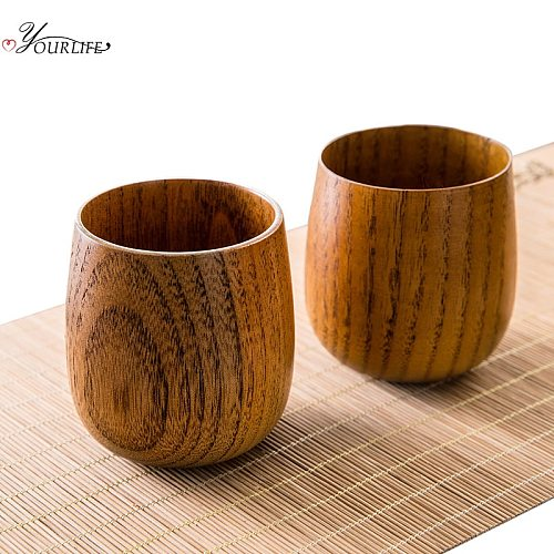 OYOURLIFE Japanese Style Natural Wooden Cup Reusable Environmental Protection Tea Coffee Milk Wine Cup Heat Insulation Water Cup
