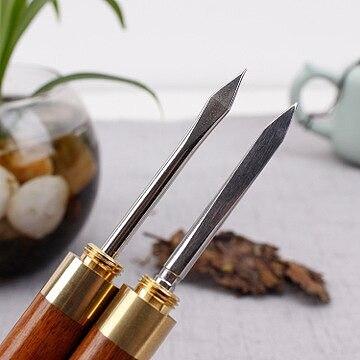 1pc trumpet ebony ChaZhen dao pu 'er tea Sandalwood Tea Knife Needle Pick With Wood Handle Puer Tea Tools Cone Needle
