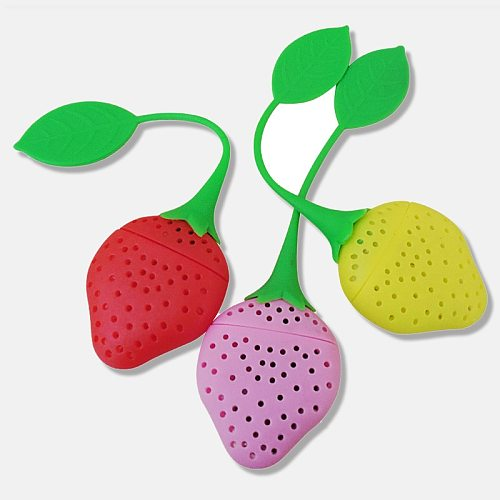 1 Pc Herbal Spice Filter Kitchen Tools Strawberry Tea Accessories Infuser Ball Leaf Strainer Strawberry Bag for Brewing Device
