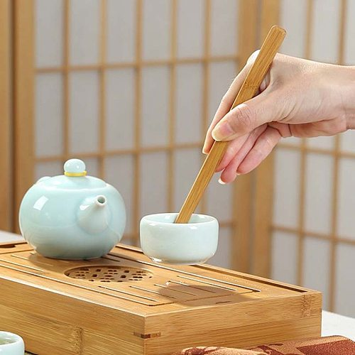 2pcs/Set Bamboo Tea Clips Practical Tea Tweezers Toast Bacon Salad Clip Sugar Tea Tongs Eco-friendly Bend Straight Clips Set