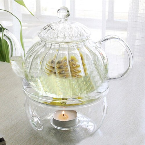 Portable Clear Teapot Holder Base Coffee Water Tea Warmer Candle Holder Glass Heat-Resisting Teapot Warmer Insulation Base#9/