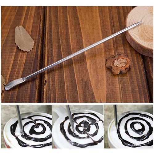 Pull Flower Needle Stainless Steel Fancy Latte Coffee Hook Flower Carve Stick Pull Flower Needle Coffee Latte Decorate Art Pen