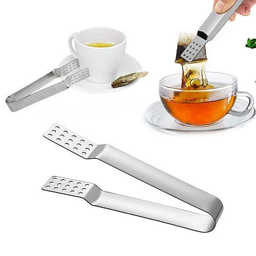 Metal Spoon Mini Sugar Clip Tea Leaf Strainer New Reusable Stainless Steel Tea Bag Tongs Teabag Squeezer Strainer Holder Grip