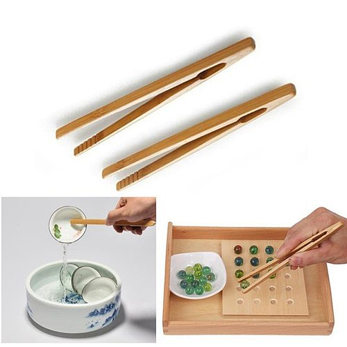 8pcs  Bamboo Teaware Tea Clips Wood Toast Tong Wooden Toaster Bagel Bacon Squeezer Sugar Ice Tea Tongs 18CM
