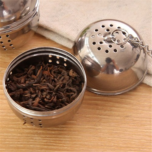 New Stainless Steel Ball Tea Infuser Mesh Filter Strainer w/hook Loose Tea Leaf Spice Ball with Rope chain Home Kitchen Tools