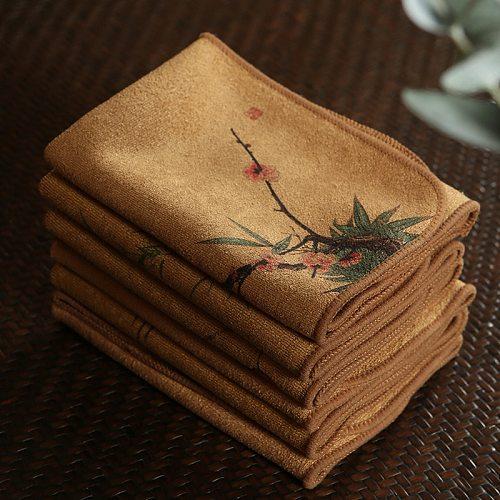 Painted tea cloth  tea towel  high-end tea towel cloth  tablecloth absorbent tea set  thick cotton linen Zen cloth pot mat