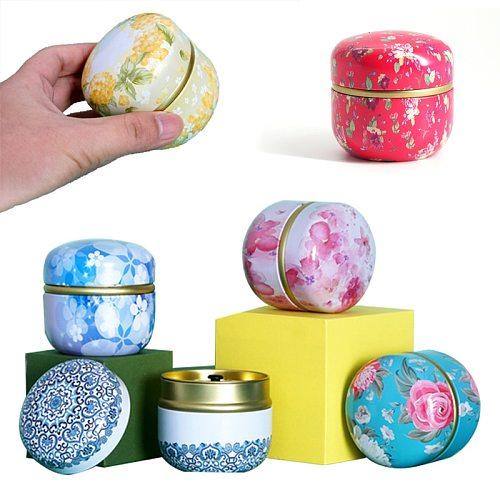 Portable Universal Tea Storage Sealed Box Circular Retro Pattern Printed Metal Jars 50g Double Sealed Tea Coffee Container