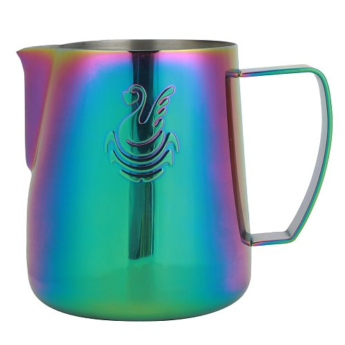 Stainless Steel 400ml/600ml Coffee Milk Frothing Cup Green Pitcher Jug for Home Coffee Latte Art Coffee Colorful Kitchen Stencil