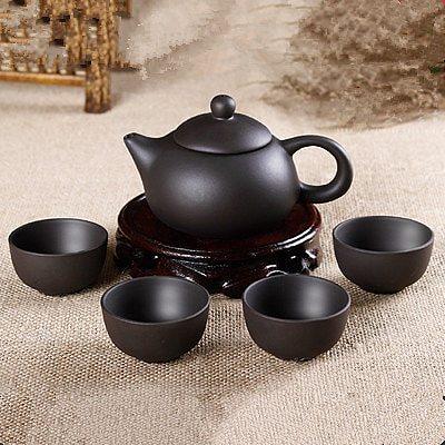 5pcs Kung Fu Tea Set [1 Teapot + 4 Cups Set] 150ml Chinese Xi Shi Porcelain Tea Sets Ceramic Yixing Purple Clay Kettle