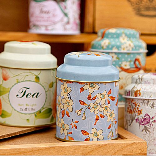 Candy Sealed Cans Box Flower Design Metal Sugar Coffee Tea Tin Jar Container Random Color New