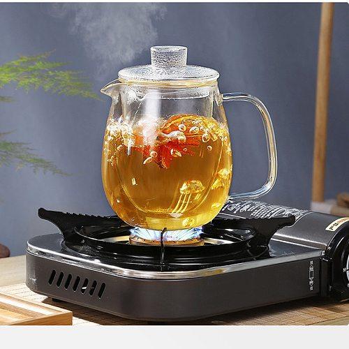 Household Teaware Glass Teapot for Stove Heat Resistant High Temperature Explosion Proof Tea Infuser Milk Rose Flower Tea Set