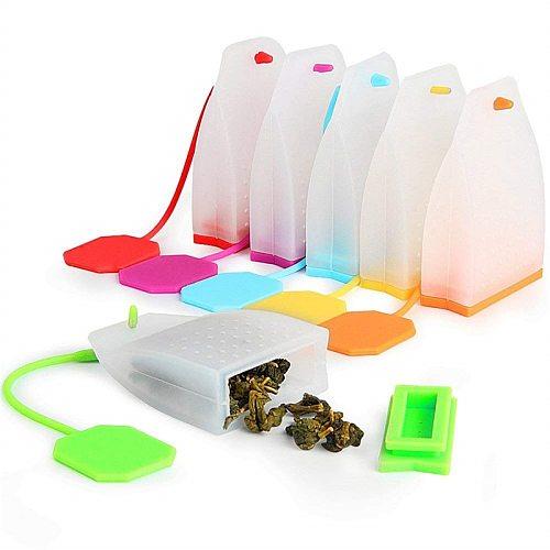 Silicone Tea Infuser Bag FineGood Reusable Safe Loose Leaf Tea Bags Strainer Filter for Tea Drinker Utensils Random Color